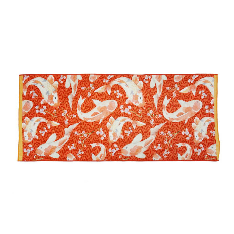 Red Terry Cotton Colorful Custom Digital Printed Bath Towels with Logo