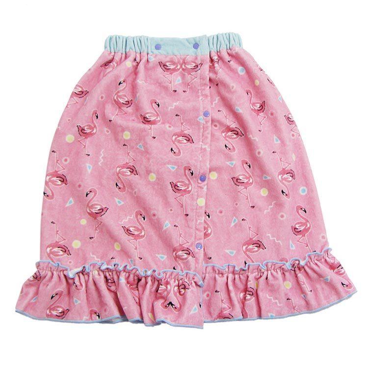 Customized Pink Flamingo 100% Cotton Printed Terry Bath Towel Skirt, Bath Dress, Beach Skirt